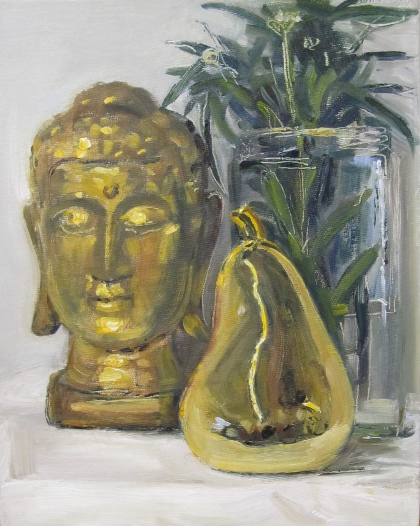 Buddha, Pear & Glass Jar