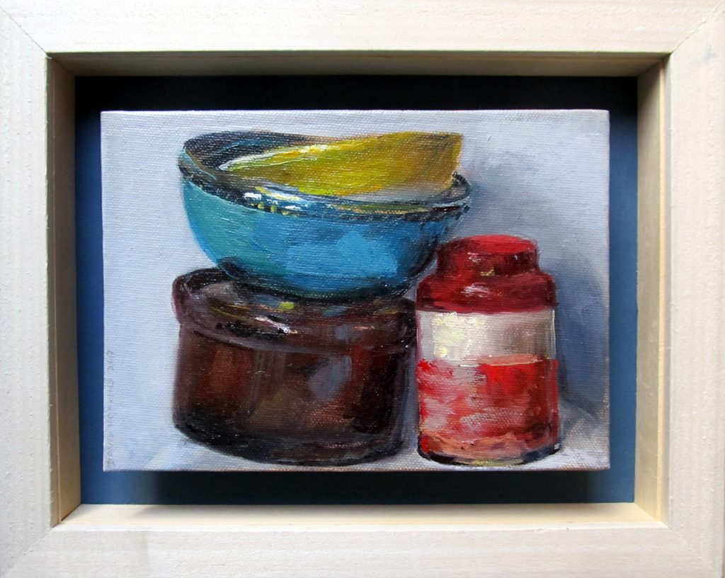 Tea caddy and bowls #1 framed by David Hopkins