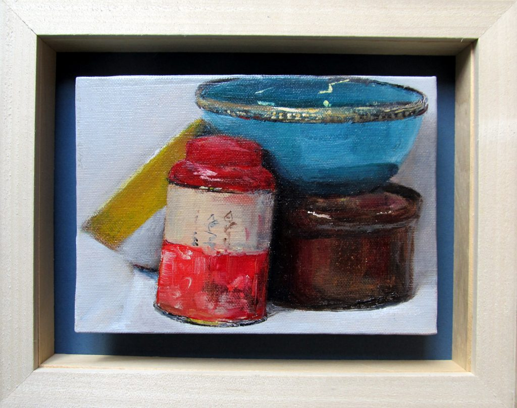 Tea caddy and bowls #2 framed by David Hopkins